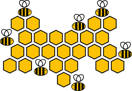 Medical logo vector illustration with bees. Mark is a honeycomb. Print