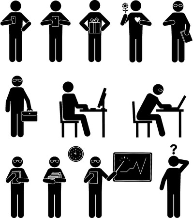 Black set people  pictogram with gadgets on job. Template for business Stock Illustratie