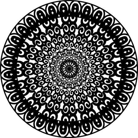 Outline Mandala for coloring book. Decorative round ornament. Yoga logo, background for meditation poster. Unusual flower shape. Template mandala