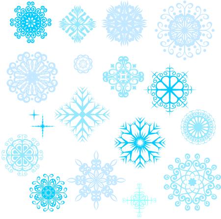 Reeks vectorsneeuwvlokken, blauwe sneeuwvlokken op witte achtergrond