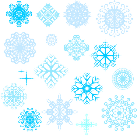Set of vector snowflakes, blue snowflakes on white background