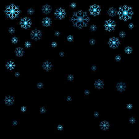 Vector illustratie Kerstblauwe sneeuwvlokken op zwarte achtergrond