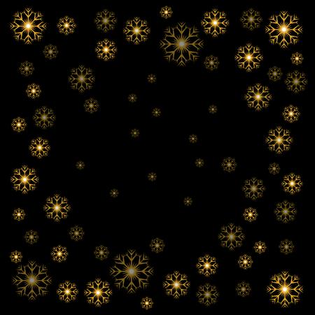 Vector illustration Christmas gold snowflakes on black background Stock Illustratie