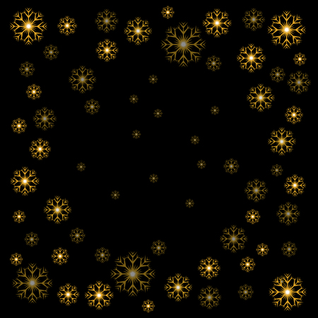 Vector illustration Christmas gold snowflakes on black background Ilustracja