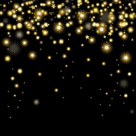 Vector illustration Christmas gold snowflakes on black background. Starfall