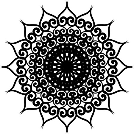 Outline Mandala for coloring book. Decorative round ornament. Yoga logo, background for meditation poster. Unusual flower shape. Template mandala