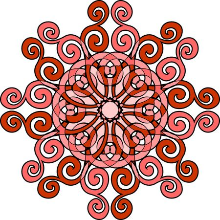 Rode contouren Mandala. Decoratief rond ornament. Yoga-logo, achtergrond voor meditatie poster. Ongebruikelijke bloemvorm. Sjabloon mandala