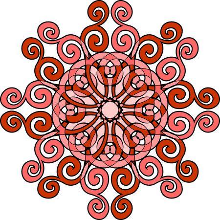 Red outline Mandala. Decorative round ornament. Yoga logo, background for meditation poster. Unusual flower shape. Template mandala