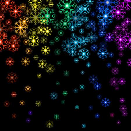 Vector illustration Christmas rainbow snowflakes on black background. Starfall