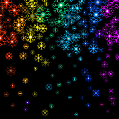starfall: Vector illustration Christmas rainbow snowflakes on black background. Starfall