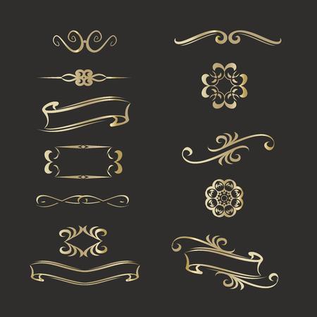 Gold templates monogrammen voor verschillende ontwerpen projects.Vintage