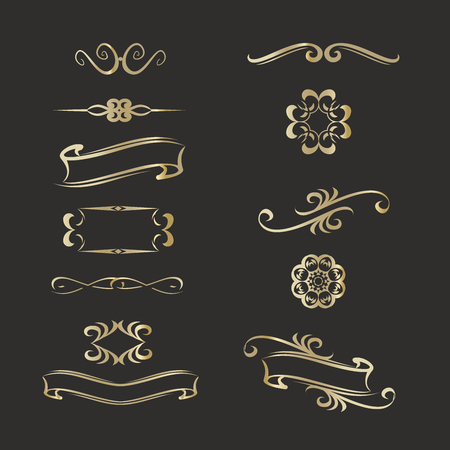 Gold templates monograms for various design projects.Vintage Ilustracja