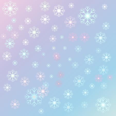 Vector illustratie Kerstmis, sereniteit sneeuwvlokken op een rozenkwarts achtergrond. Starfall
