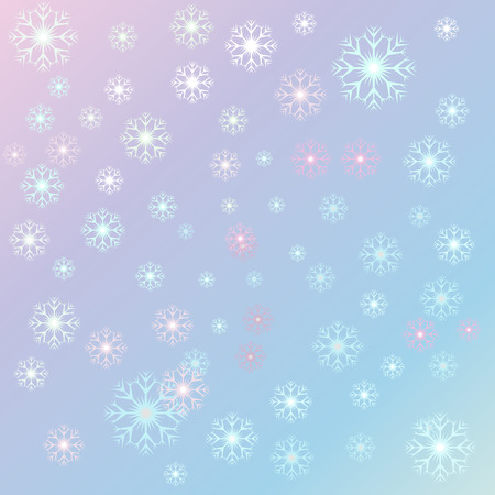 Vector illustration Christmas, serenity snowflakes on a rose quartz background. Starfall Ilustracja