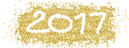 new year 2017 with white figures in gold confetti and ribbon