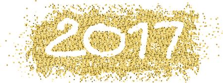 Nieuwjaar 2017 met witte figuren in gouden confetti en lint