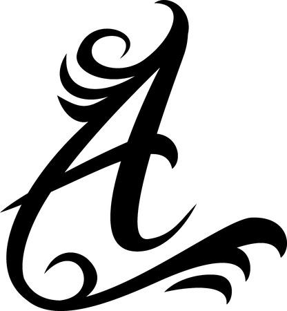 Zwarte Brief Een logo, vintage Stock Illustratie