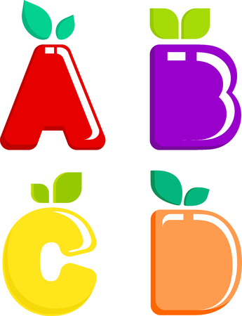 A set of colored letters fruit Stock Illustratie