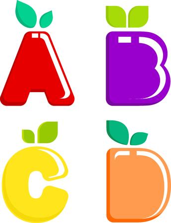 Een set gekleurde letters fruit Stock Illustratie