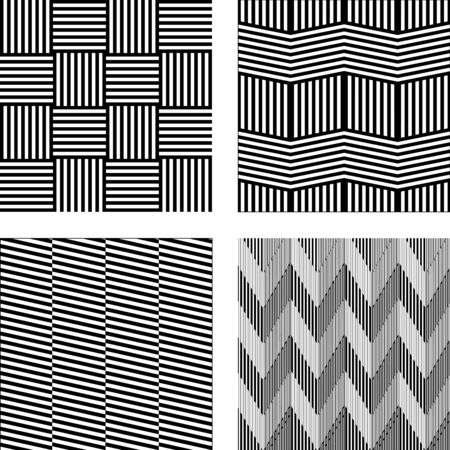 Set of Abstract geometric patterns. Black and white vector backgrounds.