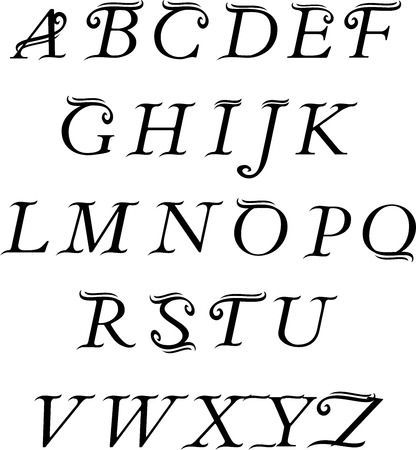 Calligraphic vector script font. Vintage alphabet