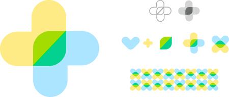 Abstract medic symbool. Geïsoleerde gezondheidszorg logo. Ongewone kruisvorm. Eco logo