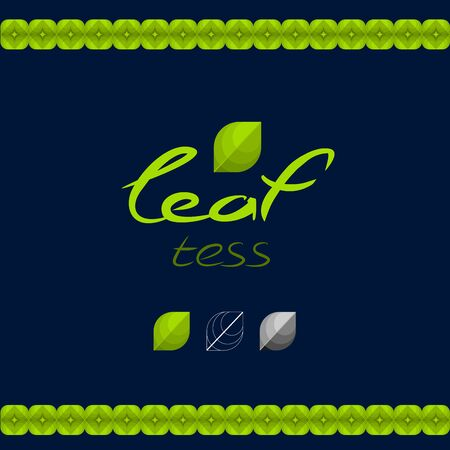 Green eco logo, in the shape of leaves. Logo tea Ilustracja