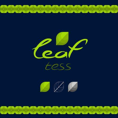 Groen eco-logo, in de vorm van bladeren. Logo thee