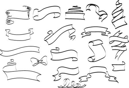 Inzameling van hand getrokken uitstekend kader voor tekstdecoratie in vector. Het ontwerp van de banners van de site. Schetsmatige lintbanners