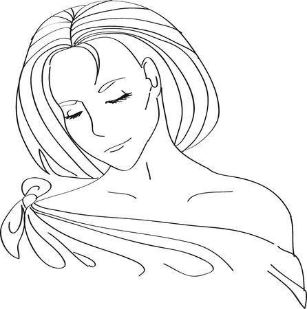 Mode portret van mooie vrouw met golvend haar geïsoleerd op wit Stock Illustratie