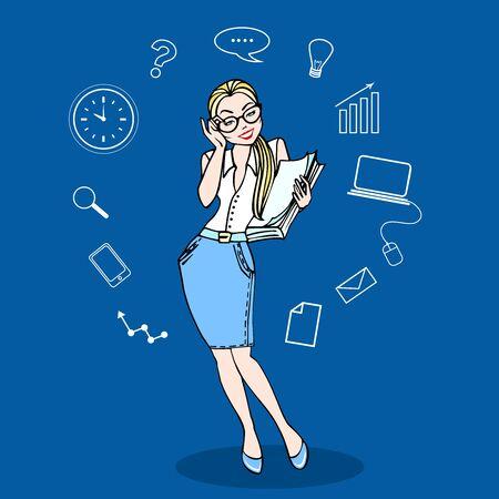 Bedrijfsvrouw in glazen en een stapel van administratie in kleur, met bedrijfspictogrammen. Concept zakelijke vectorillustratie