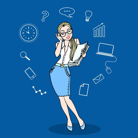Business woman in glasses and a pile of paperwork in color, with business icons. Concept business vector illustration
