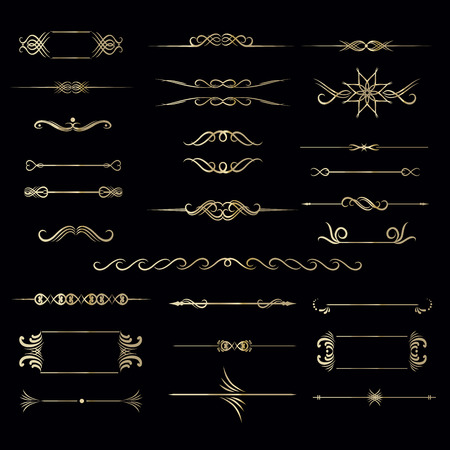 Grote set hand getekend vintage frame voor tekst decoratie in vector in goud. Luxe kader Stock Illustratie