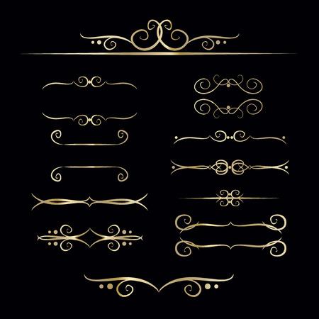 Inzameling van hand getrokken uitstekend kader voor tekstdecoratie in vector in goud. Het ontwerp van de banners Stock Illustratie