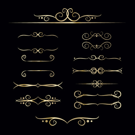 Collection of hand drawn vintage frame for text decoration in vector in gold. The design of the banners Illustration