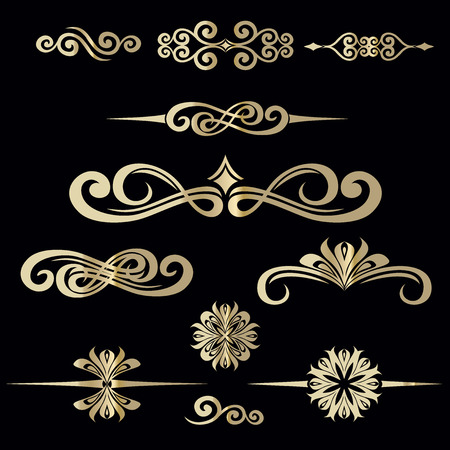 Collection of hand drawn vintage frame for text decoration in vector in gold on black background Stock Illustratie