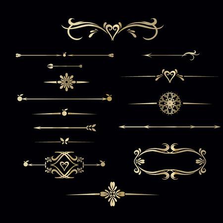 Set van hand getrokken vintage frame voor tekst decoratie in vector in goud op zwarte achtergrond, voor banner Stock Illustratie