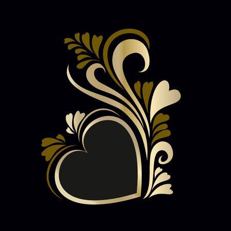 Frame luxury gold heart Valentine's day Stock Illustratie