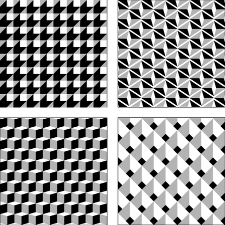 Vector set black and white optical illusions. Seamless texture. Surround Cube