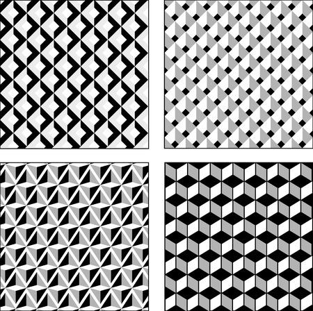 Vector set zwart-witte optische illusies. Naadloze textuur. Surround Cube en rhombus Stock Illustratie
