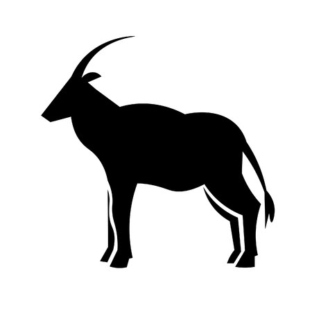 This vector image shows a standing african oryx antelope in glyph icon design. It is isolated on a white background.