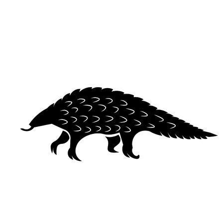 This vector image shows a standing african pangolin in glyph icon design. It is isolated on a white background.