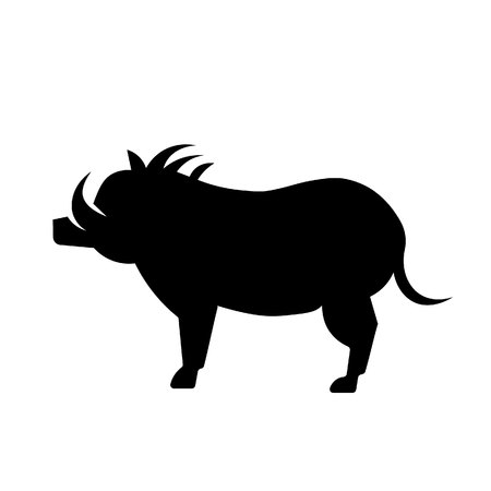 This vector image shows an African warthog in glyph icon design. It is isolated on a white background.