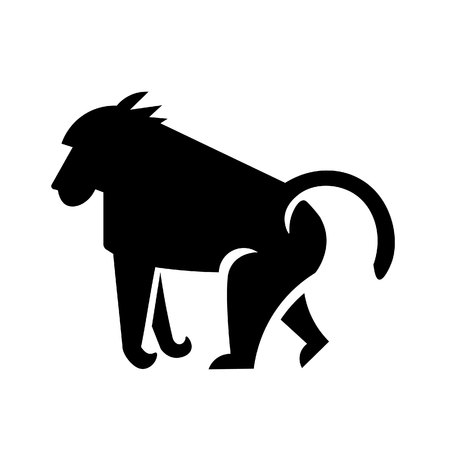 This vector image shows a standing african baboon in glyph icon design. It is isolated on a white background.