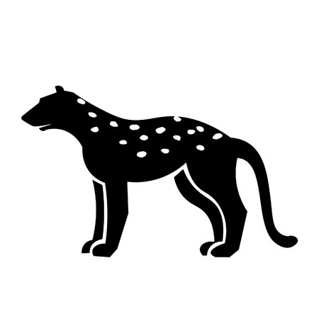 This vector image shows a standing african cheetah in glyph icon design. It is isolated on a white background.