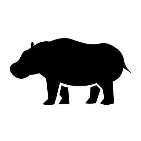 This vector image shows a standing african hippopotamus in glyph icon design. It is isolated on a white background. Illustration