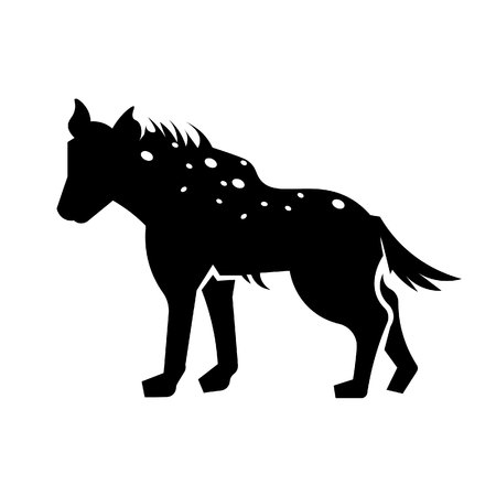 This vector image shows a standing african hyena in glyph icon design. It is isolated on a white background. Illustration