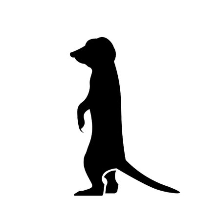 This vector image shows a standing meerkat in glyph icon design. It is isolated on a white background.