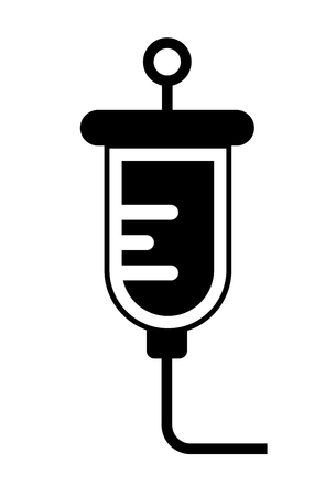 This vector image shows a saline solution in glyph icon design. It is isolated on a white background.