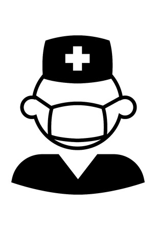 This vector image shows a male nurse in glyph icon design. It is isolated on a white background.
